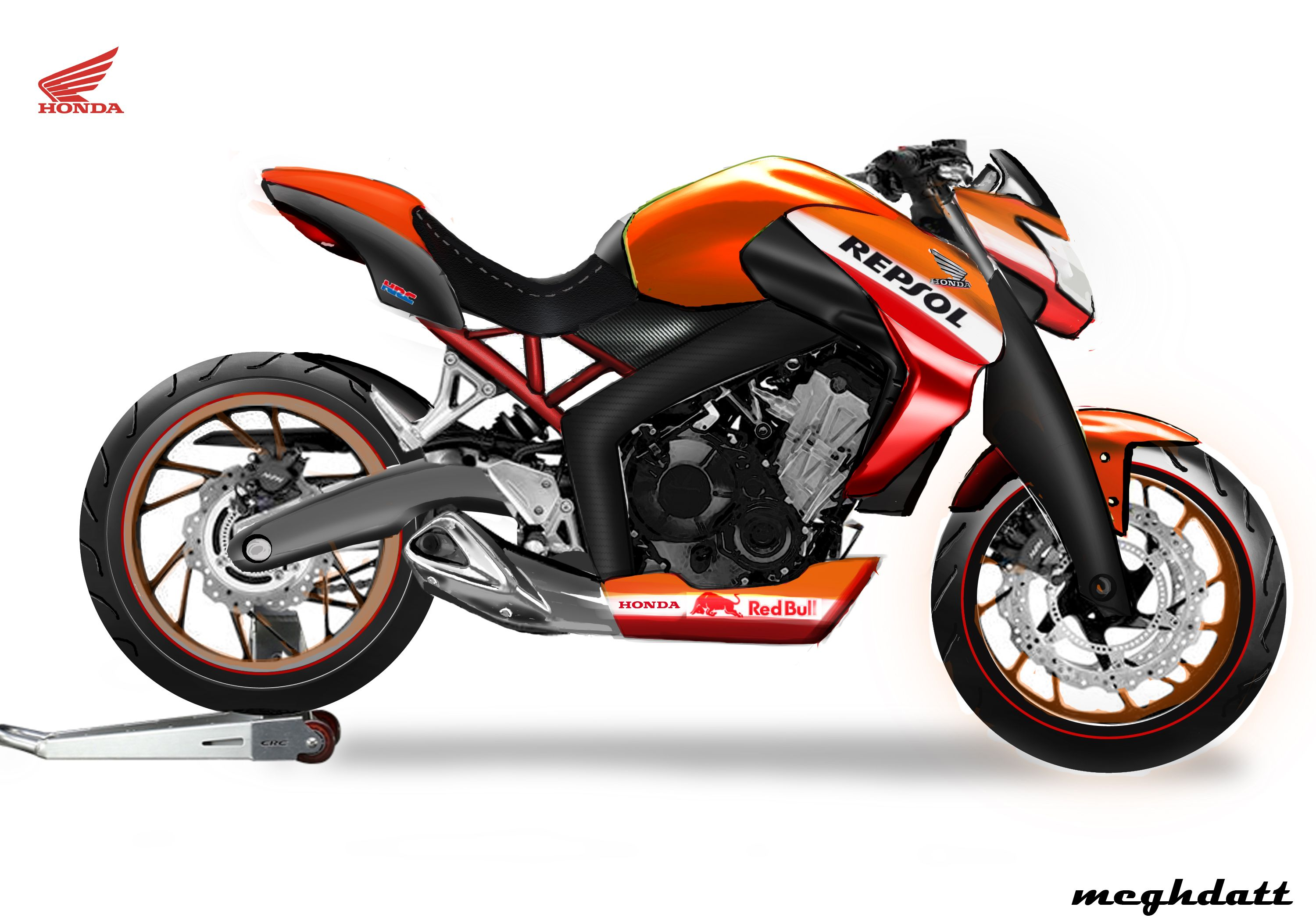 honda street sport naked bike repsol edition render. Black Bedroom Furniture Sets. Home Design Ideas