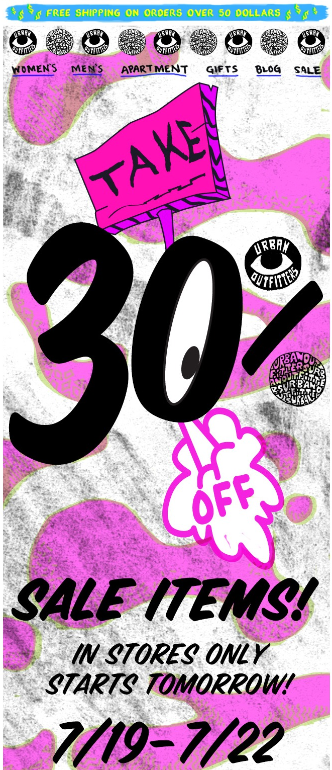 Extra 30 Off Sale Items This Weekend At Urban Outfitters Coupon Via The Coupons App Urban Outfitters Design Coupon Apps Email Newsletter Design