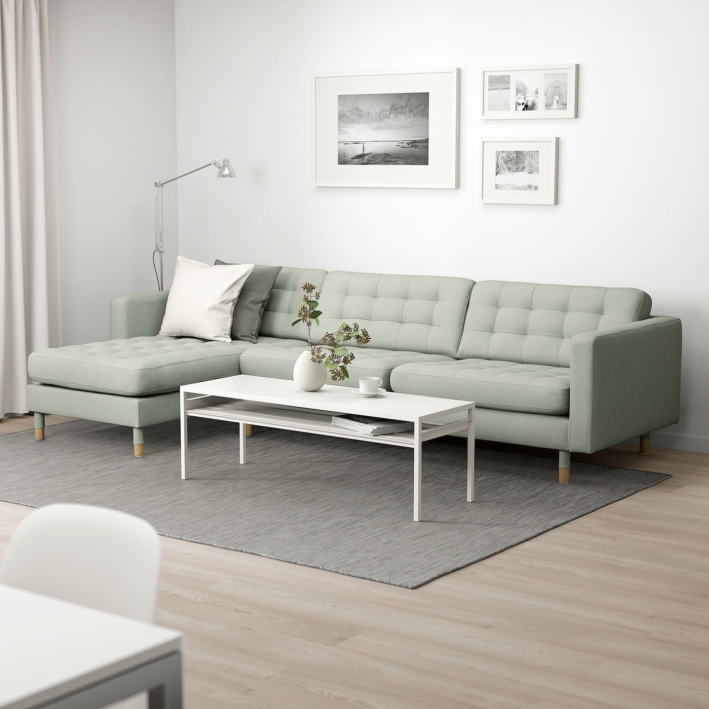 LANDSKRONA 4er Sofa mit Récamiere, Gunnared hellgrünHolz