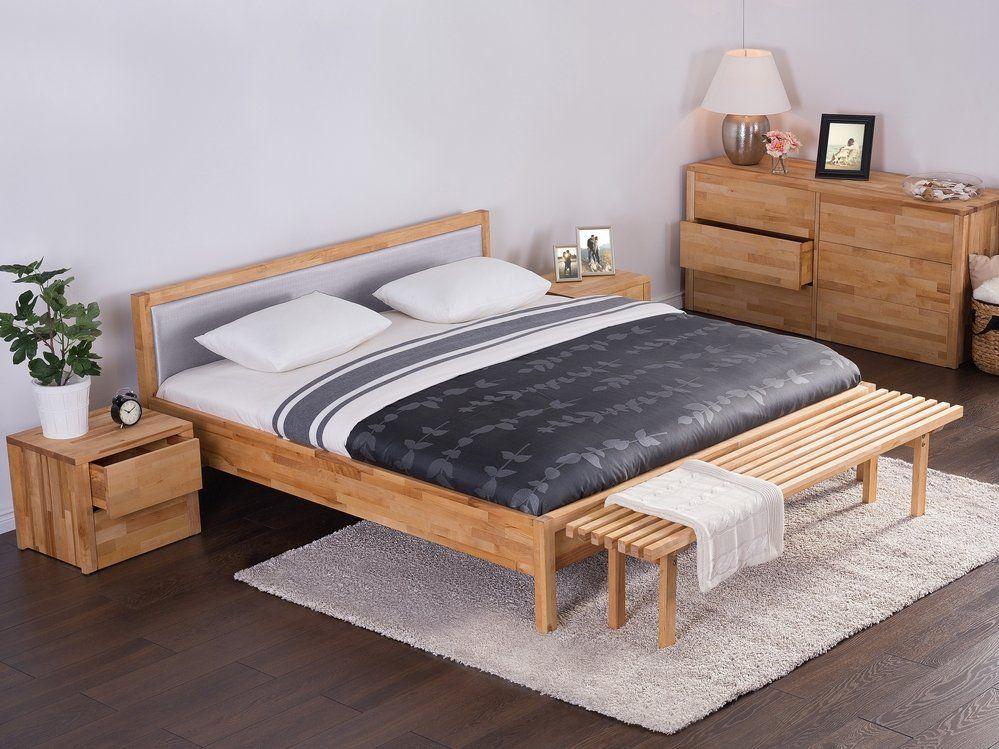 Podwójne łóżko Drewniane Ze Stelażem 180x200 Cm Szare