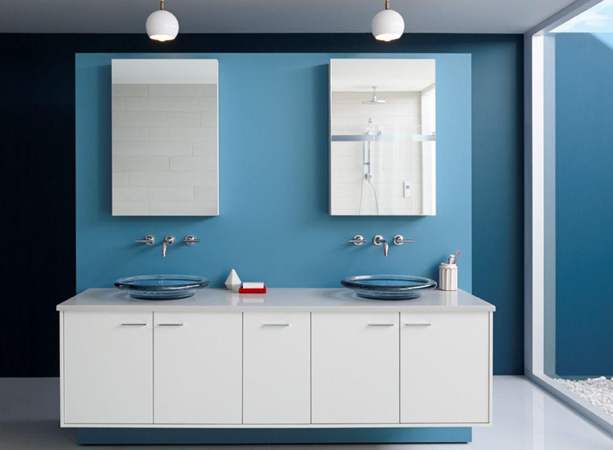 Paint Colors For Bathroom Walls desert departure bathroom! wall color: blue daisy - ceiling color