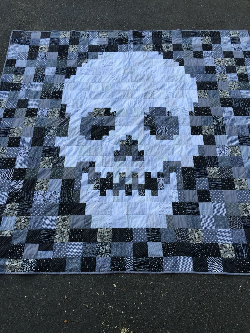 Black And White King Size Skull Quilt Quilting Quilt