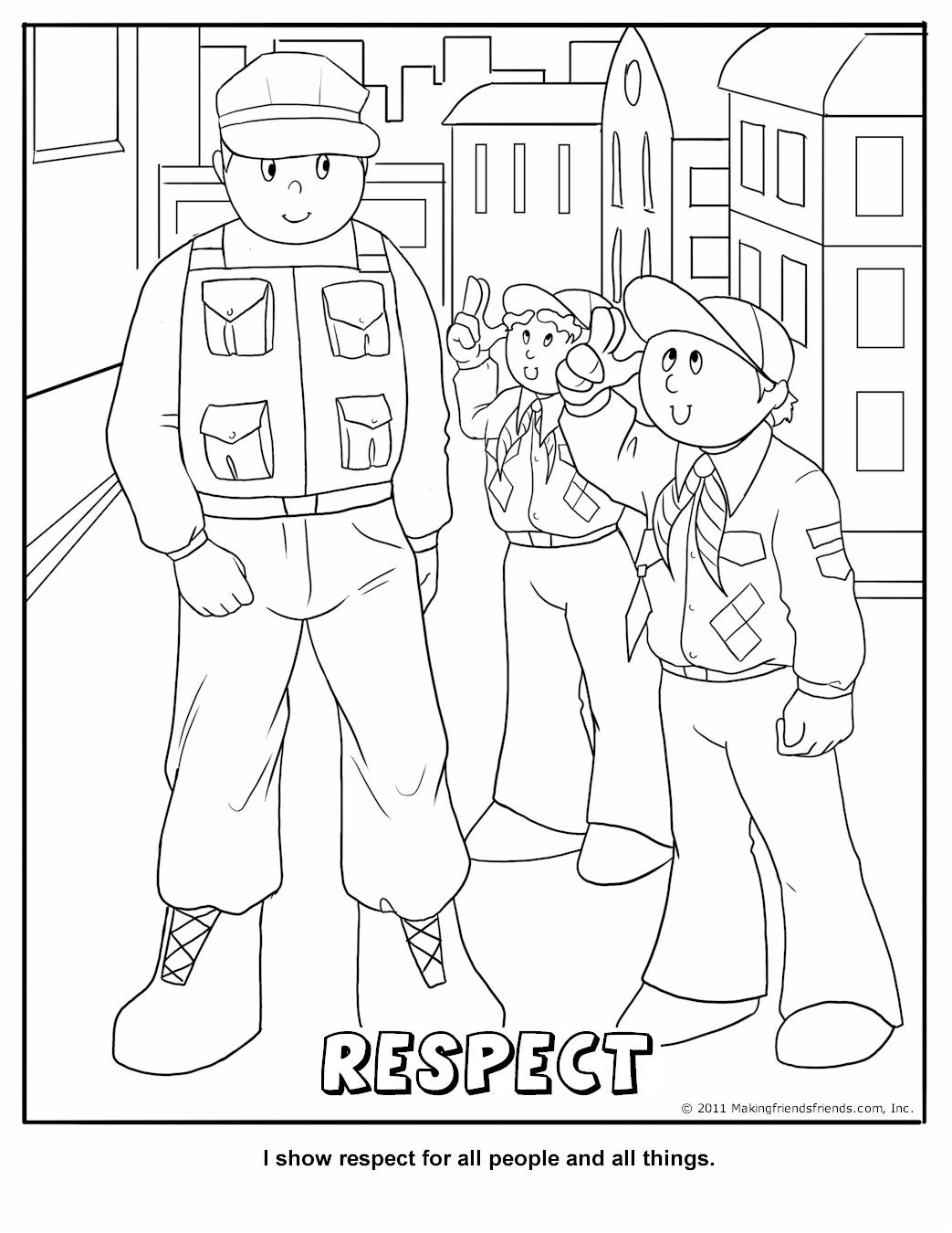 Printable Respect Coloring Page- Wolf- 7a- Character Connection ...