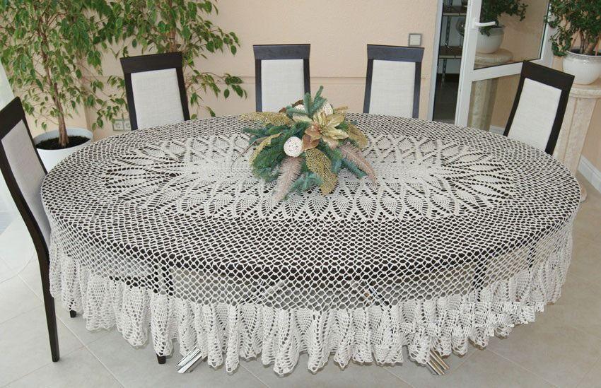 Dentelle Nappe Ovale Fait Main Maison Confortable Magic Textiles Et Tapis Par Laceukraine Nappe Ovale Maison Confortable Nappe Crochet