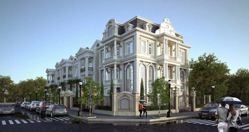 Thiết kế kiến trúc biệt thự cổ điển châu âu.