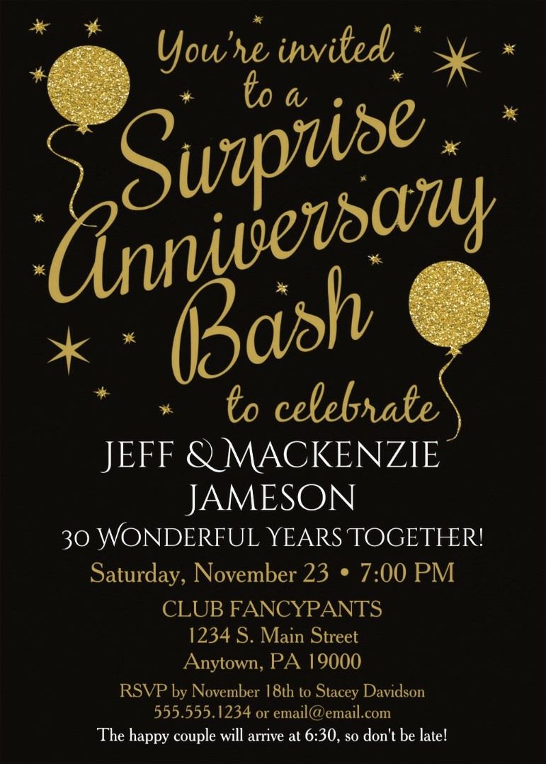 Surprise 30th Anniversary Party Invitations Black Gold Balloons This Fun Festive Wedding Invitation Features Background