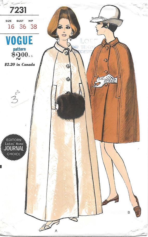 1960s Cape Vogue 7231 Sewing Pattern Uncut Full-length Cape   Sewing ...