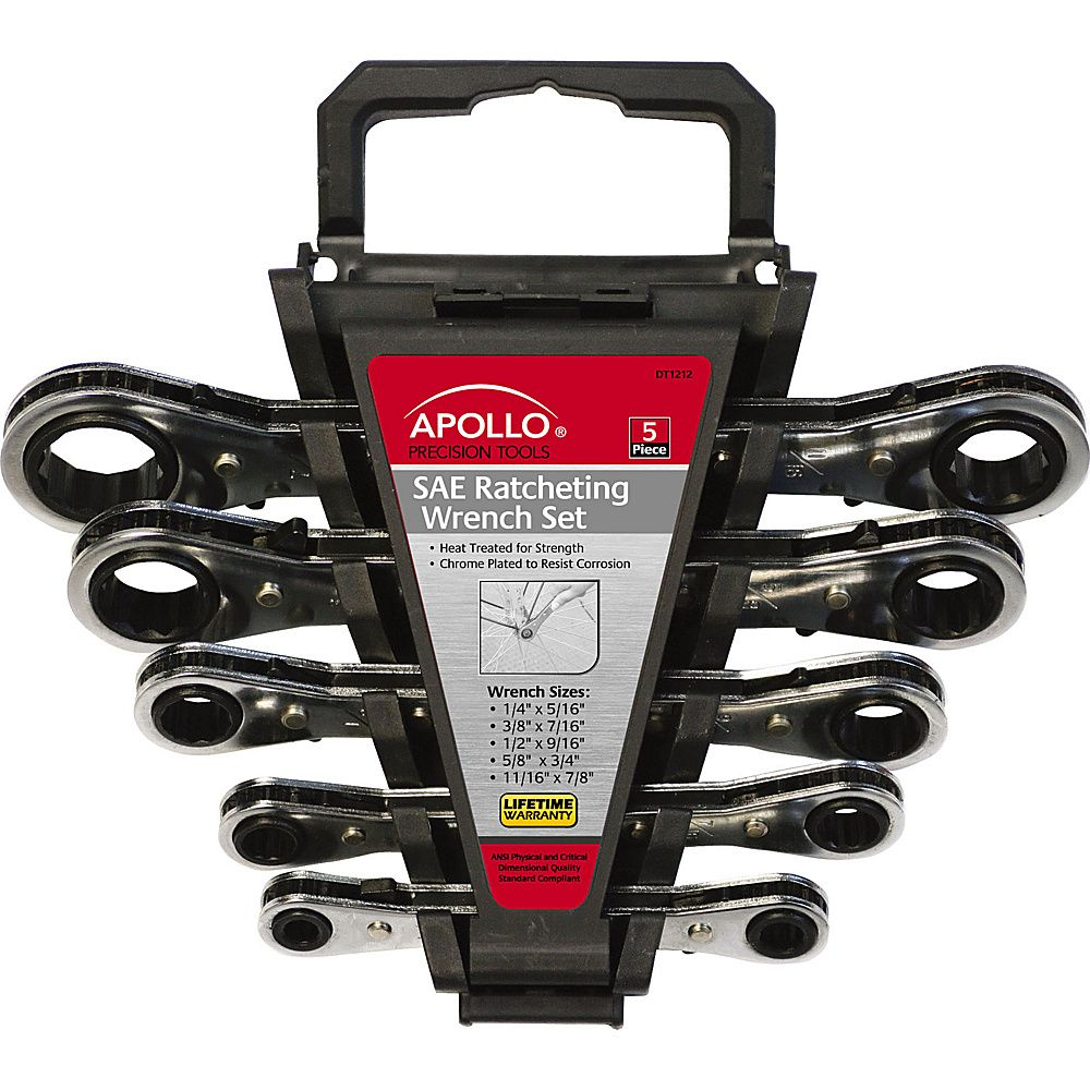 Apollo Tools 5 Piece SAE Ratcheting Wrench Set
