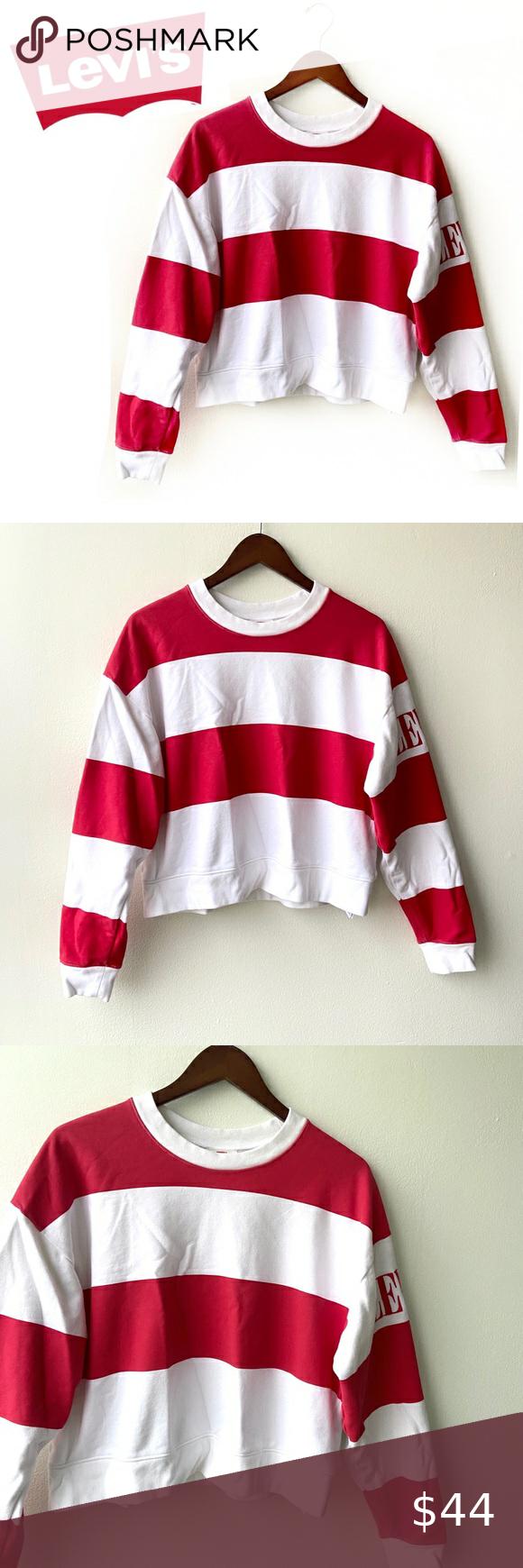 Levi S Red Stripe Diana Crew Neck Sweatshirt Levi S Red Stripe Diana Crew Neck Sweatshirt Red White Stri Sweatshirts Crop Top Sweatshirt Crew Neck Sweatshirt