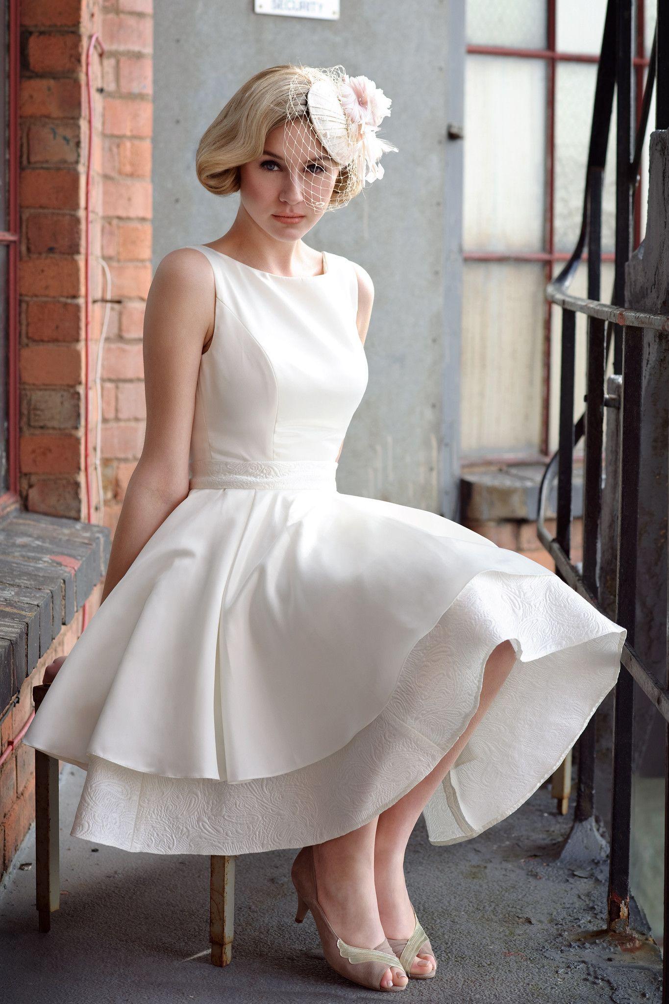 Short Wedding Dresses - Tobi Hannah Illusion -Tea Length Wedding ...