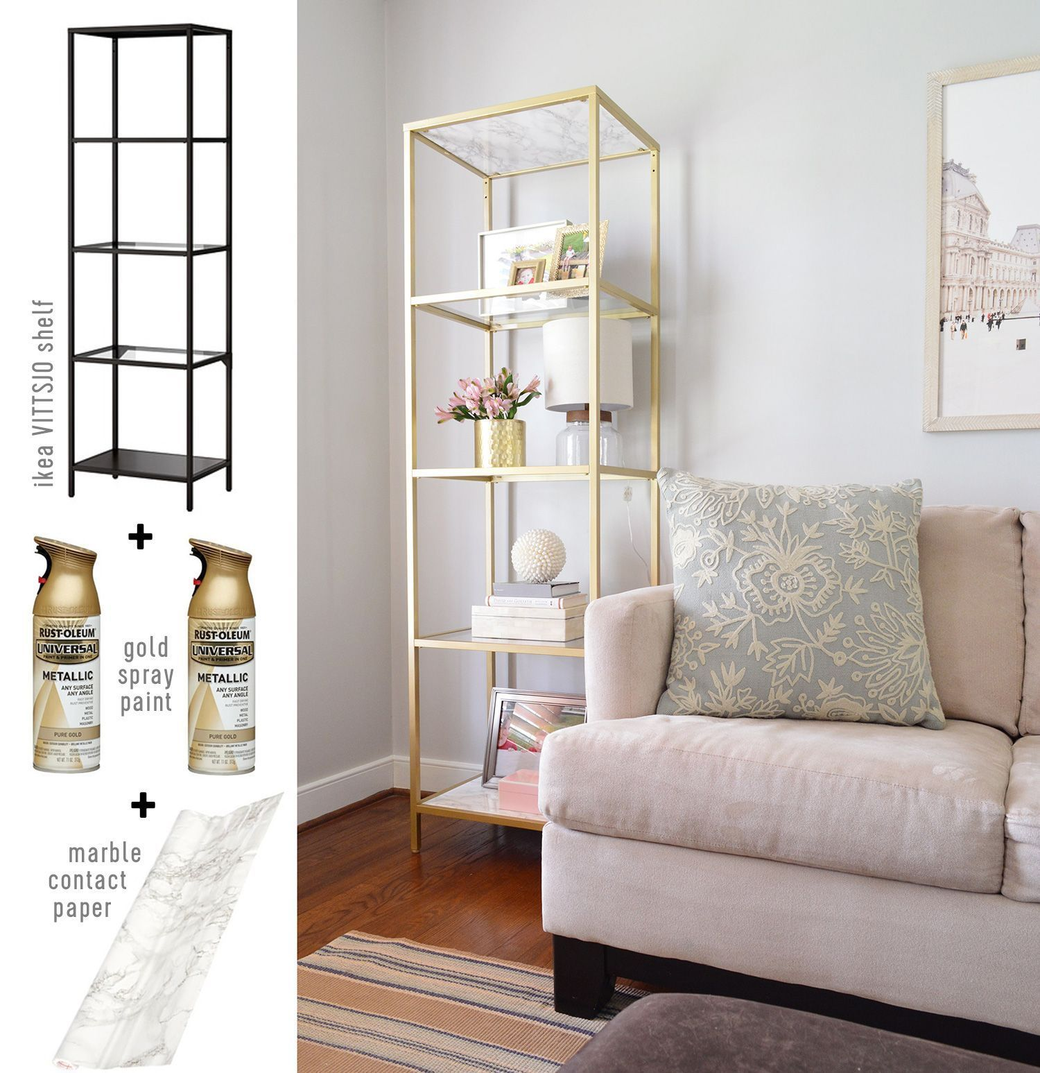 Affordable Marble Home Decor: Cheap Project Idea: Neutral Living Room Gold Ikea Shelf