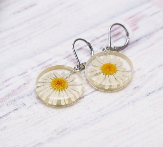 Flower Earrings White Daisy Jewelry