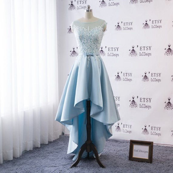 Simple Wedding Dress Long Blue Bridal Gown White Lace Wedding Gown Sleeveless Prom Ball Gown High Low Satin Skirt Bridal Dress Corset Design Ball Dresses Wedding Dresses Simple Ball Gowns,Short Royal Blue Dress For Wedding Guest
