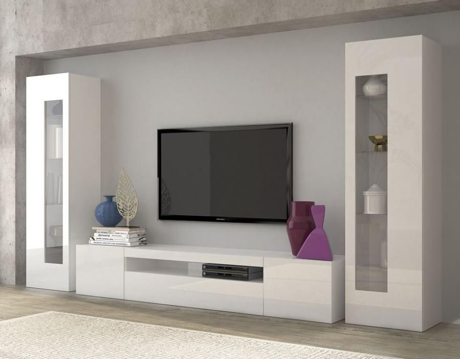 Daiquiri modern tv and display wall unit in white gloss for Bedroom designs with tv unit
