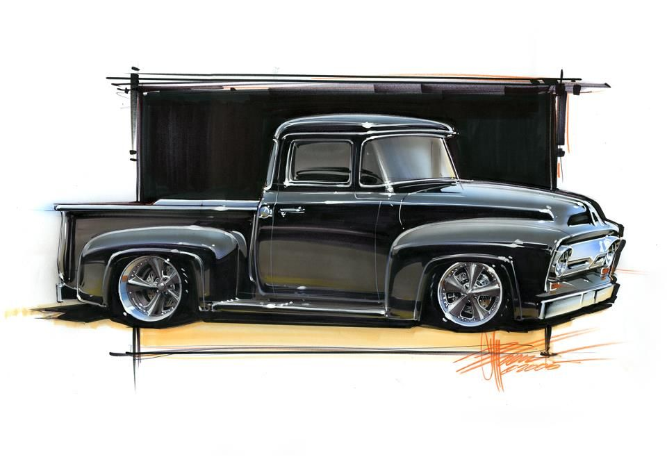 Rendering of a 1956 Ford F100 | 1956 F100 | Pinterest