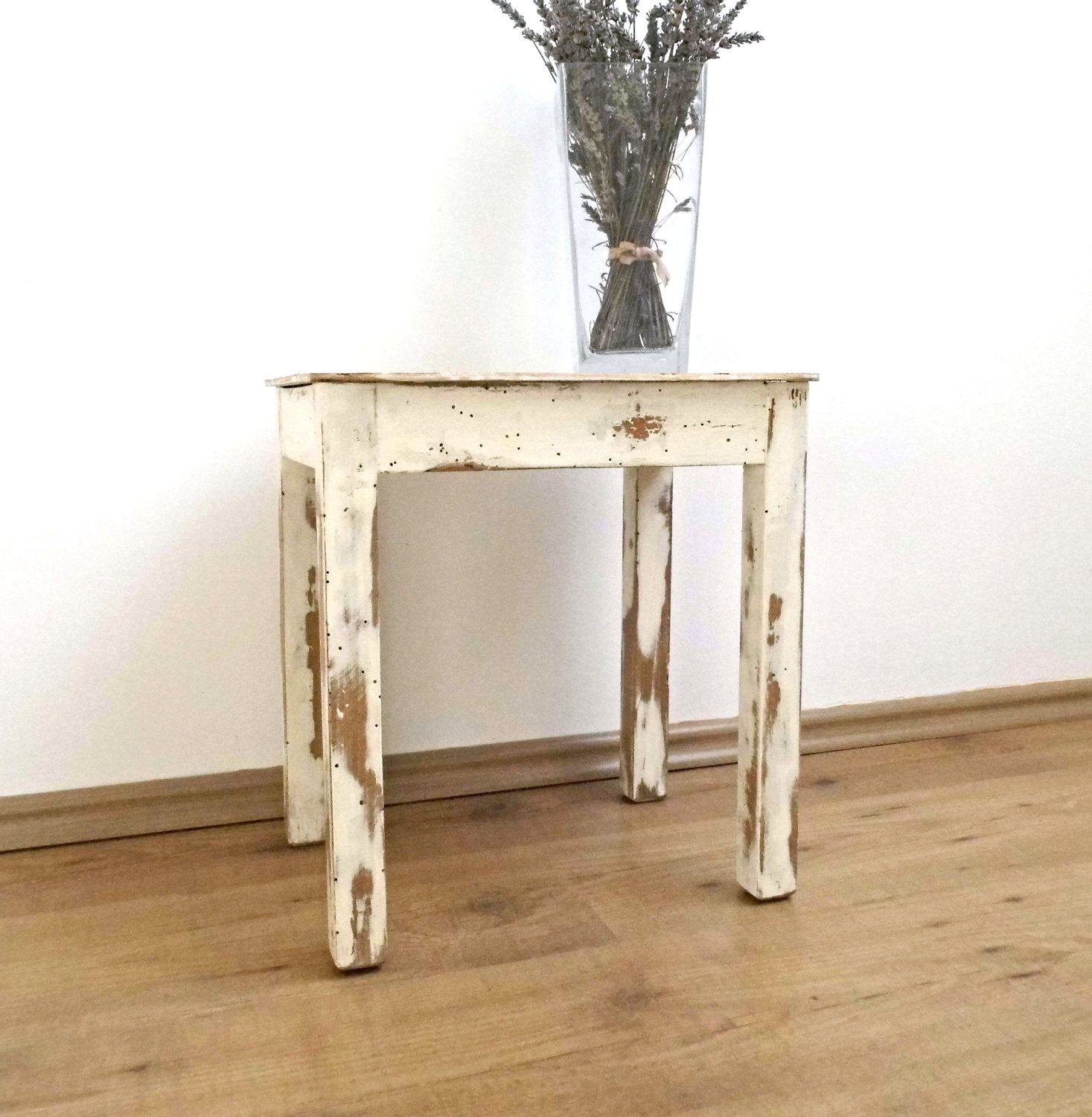 Vintage Wood Stool White Distressed End Side Coffee Table Rustic