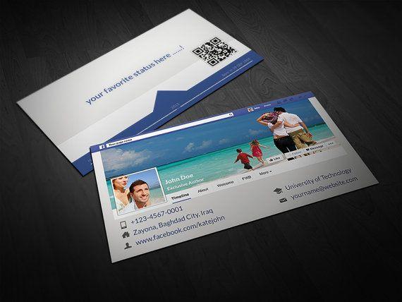 Facebook Timeline Business Card Make Your Facebook Timeline On Business Card Share Your Facebook Information By B Name Card Design Cards Business Card Design