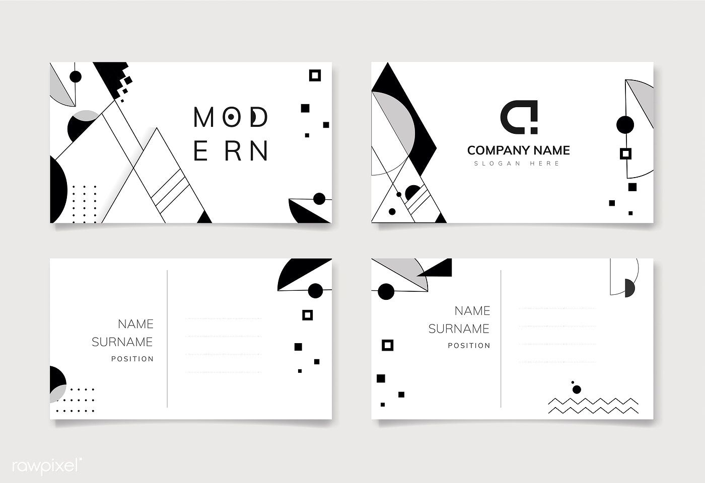 Modern Black And White Geometric Business Name Card Template Free Image By Rawpixel Com Bu Business Card Mock Up Vector Business Card Business Card Pattern