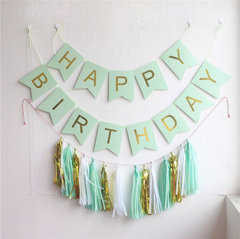 Gold Pleated HAPPY BIRTHDAY Mint banner + 15pc tassels Kit ...