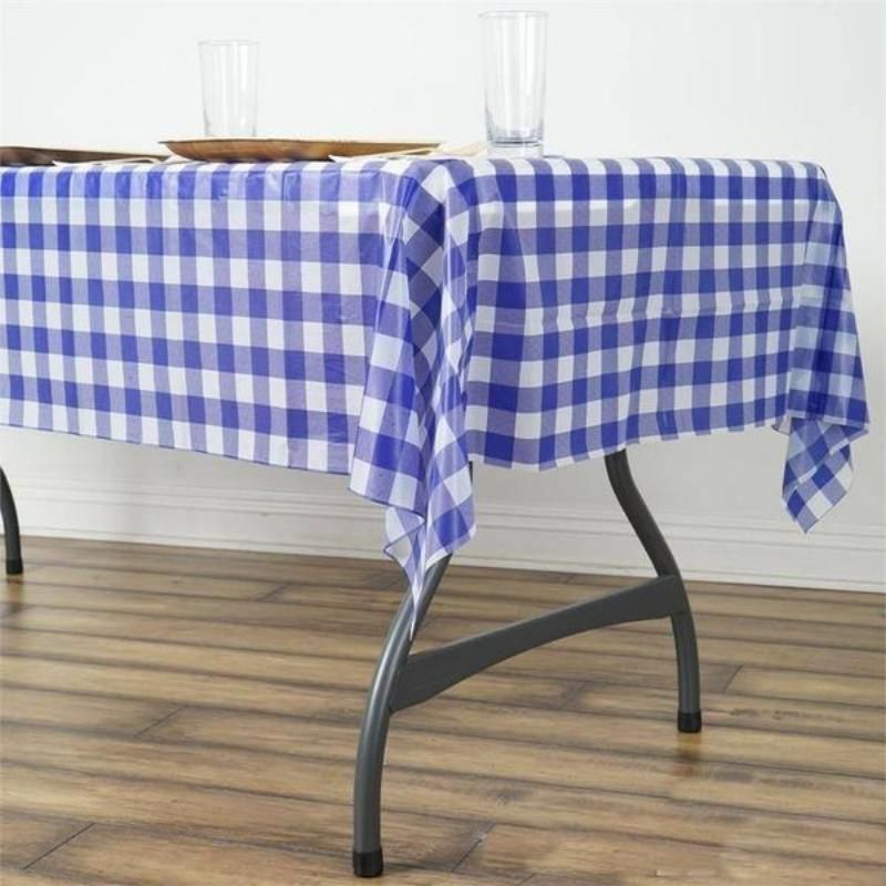 Buffalo Plaid Tablecloth 54 X 72 Rectangular Spill Proof Tablecloths White Royal Disposable Checkered Plastic Vinyl Waterproof Tablecloths In 2020 Plastic Table Covers Picnic Table Covers Plastic Tables
