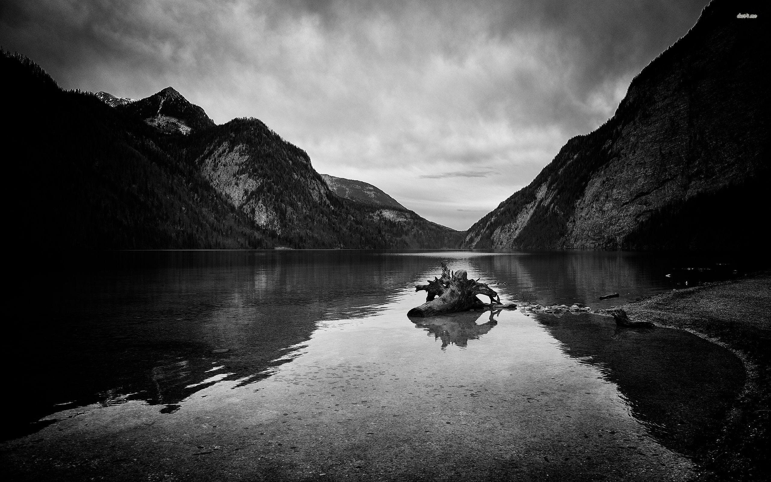 Mountain Scenery Black And White HD desktop wallpaper High