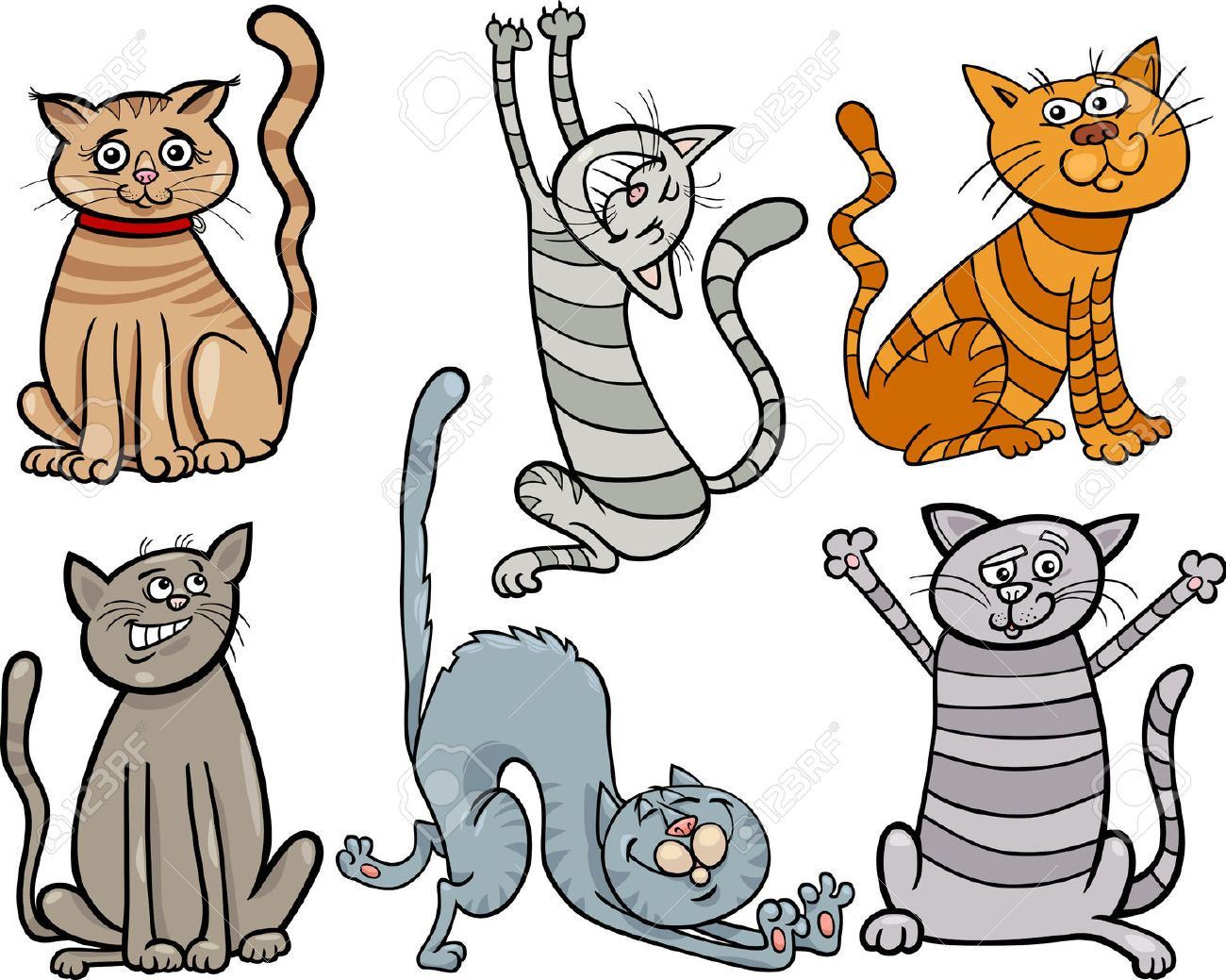 Cartoon Illustration Of Cute Cats Or Kittens Pet Set Royalty Free ...