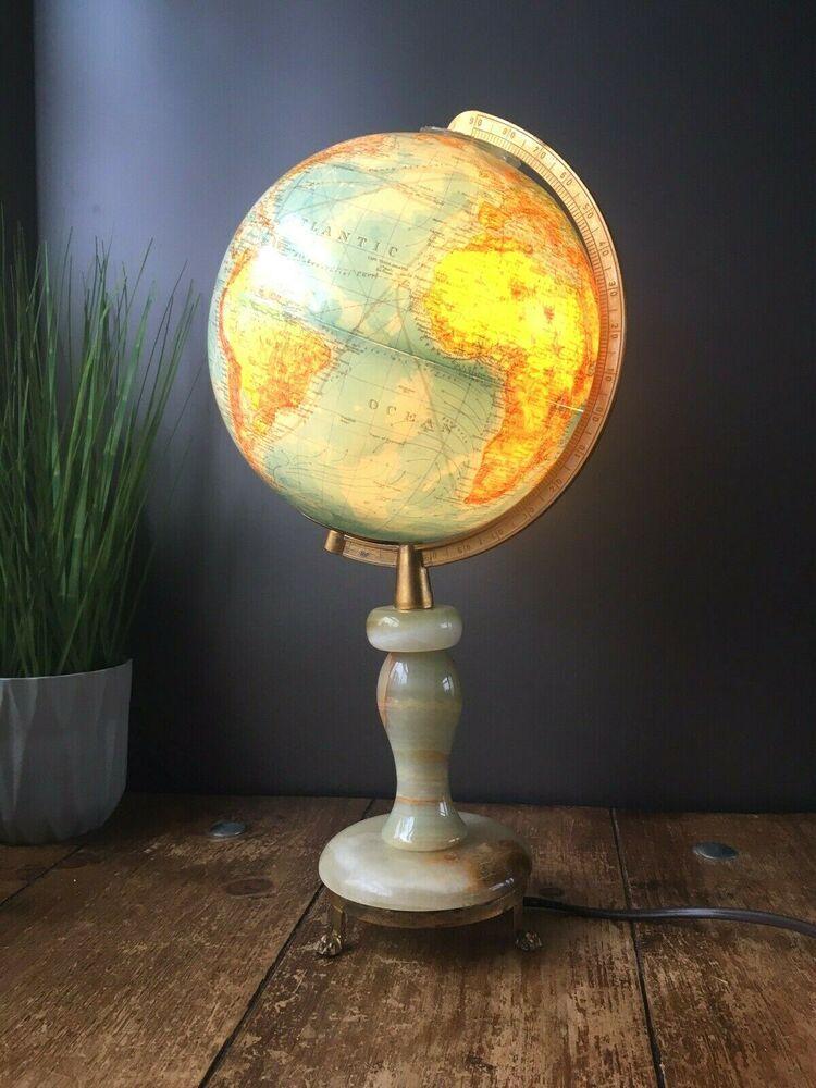 Vintage Columbus Duplex Illuminated Desk Light Lamp World Map Globe Marble Base Ebay Desk Light Lamp Light Map Globe
