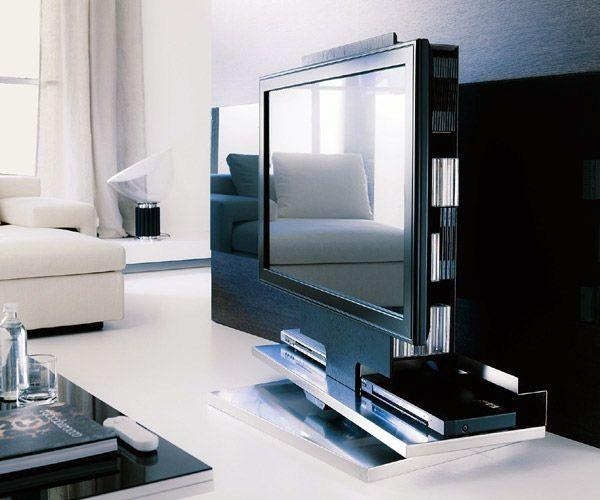Ozzio presenta zero il mobile porta tv plasma lcd girevole e regolabile con telecomando a for Mobile porta tv girevole design