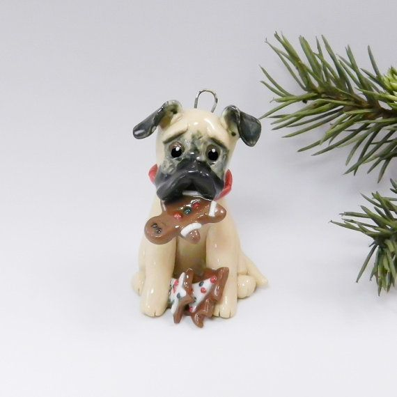 Black Mouth Cur Christmas Ornament Figurine Cookies Handmade Porcelain #blackmouthcurdog Black Mouth Cur Christmas Ornament or figurine, munching on some Gingerbread cookies that it found, left out for Santa. The dog is wearing a red collar. Entirely Hand Sculptured, glazed PORCELAIN china One of a kind ______________________________________________ * Approx. 2 high x 1 wide. * All ornaments come with a gift box and a gold cord for hanging or can sit for year around display. * The item shown #blackmouthcurdog