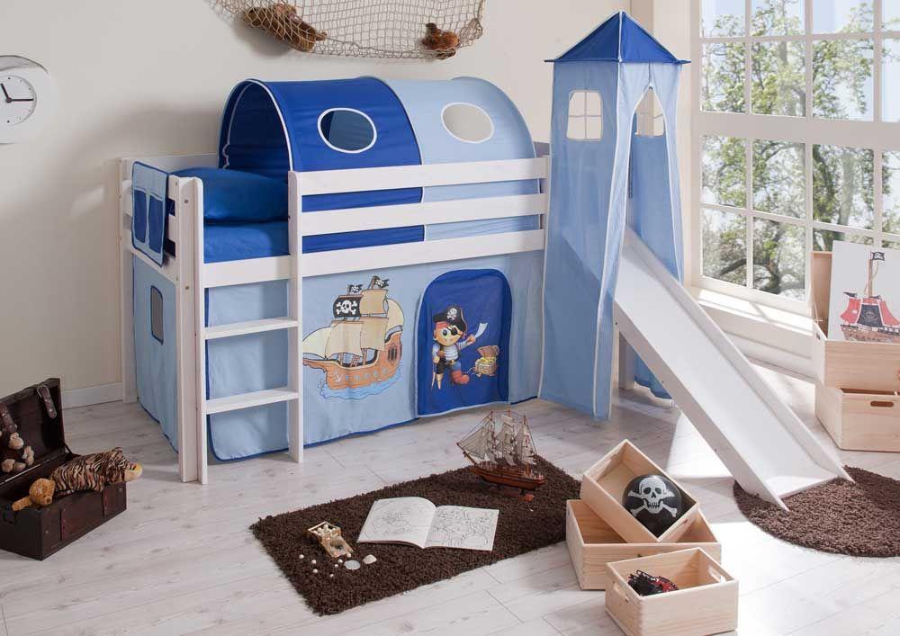Kinderhochbett weiß mit rutsche  Hochbett in Weiß-Blau mit Rutsche und Vorhang Jetzt bestellen unter ...