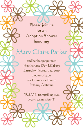 young girl adoption baby shower party invitations | adoption, Party invitations