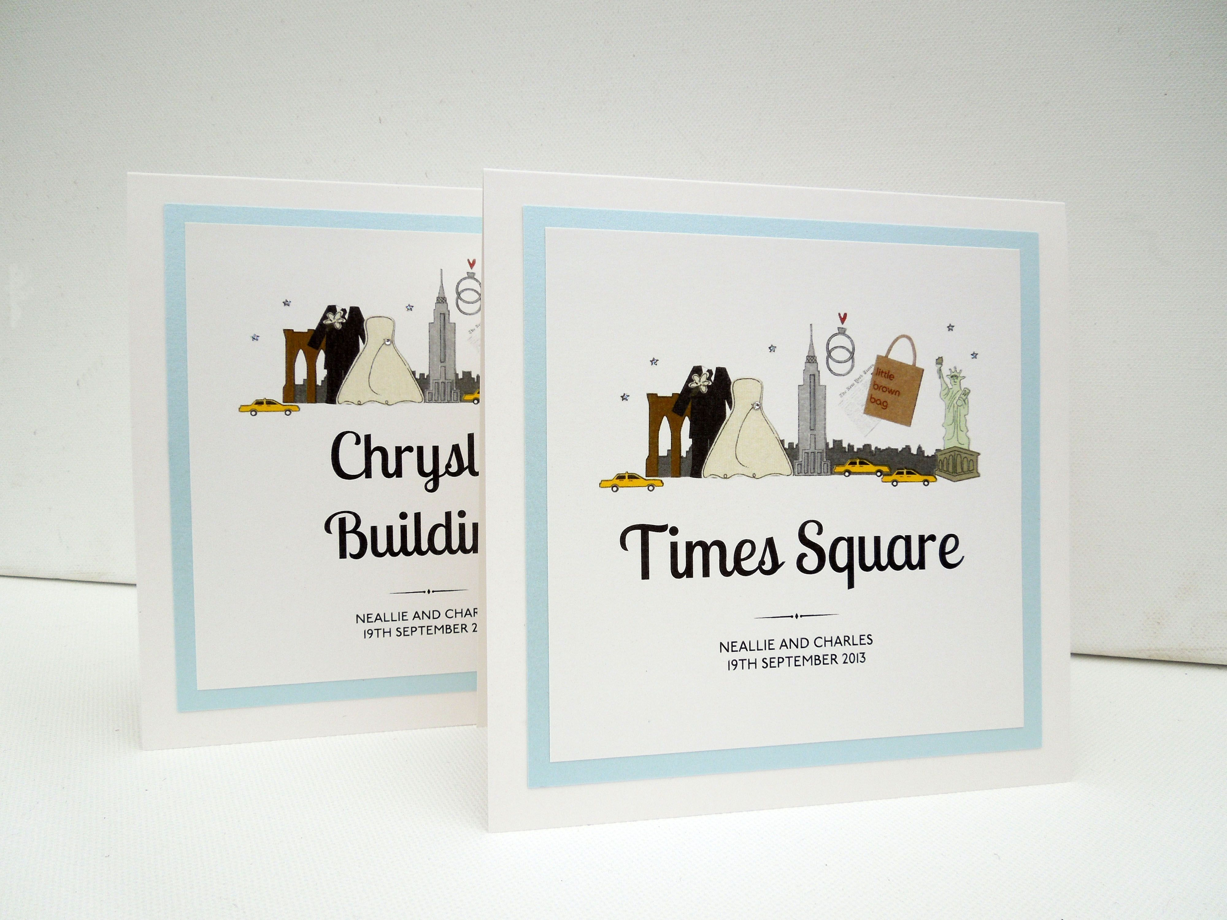 Plain print illustrated New York themed wedding table names ...