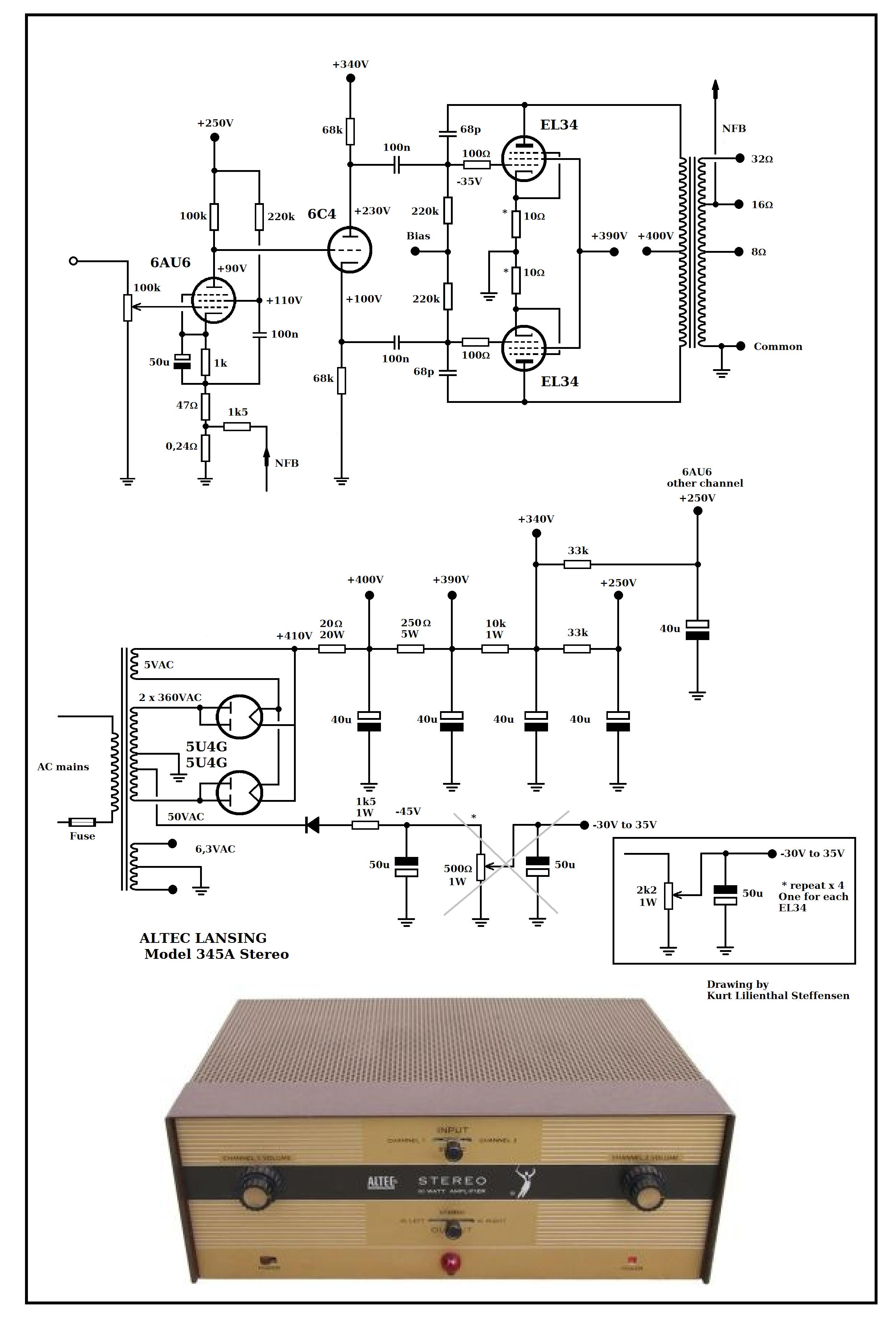 hight resolution of altec lansing 345a stereo el34 pp ed