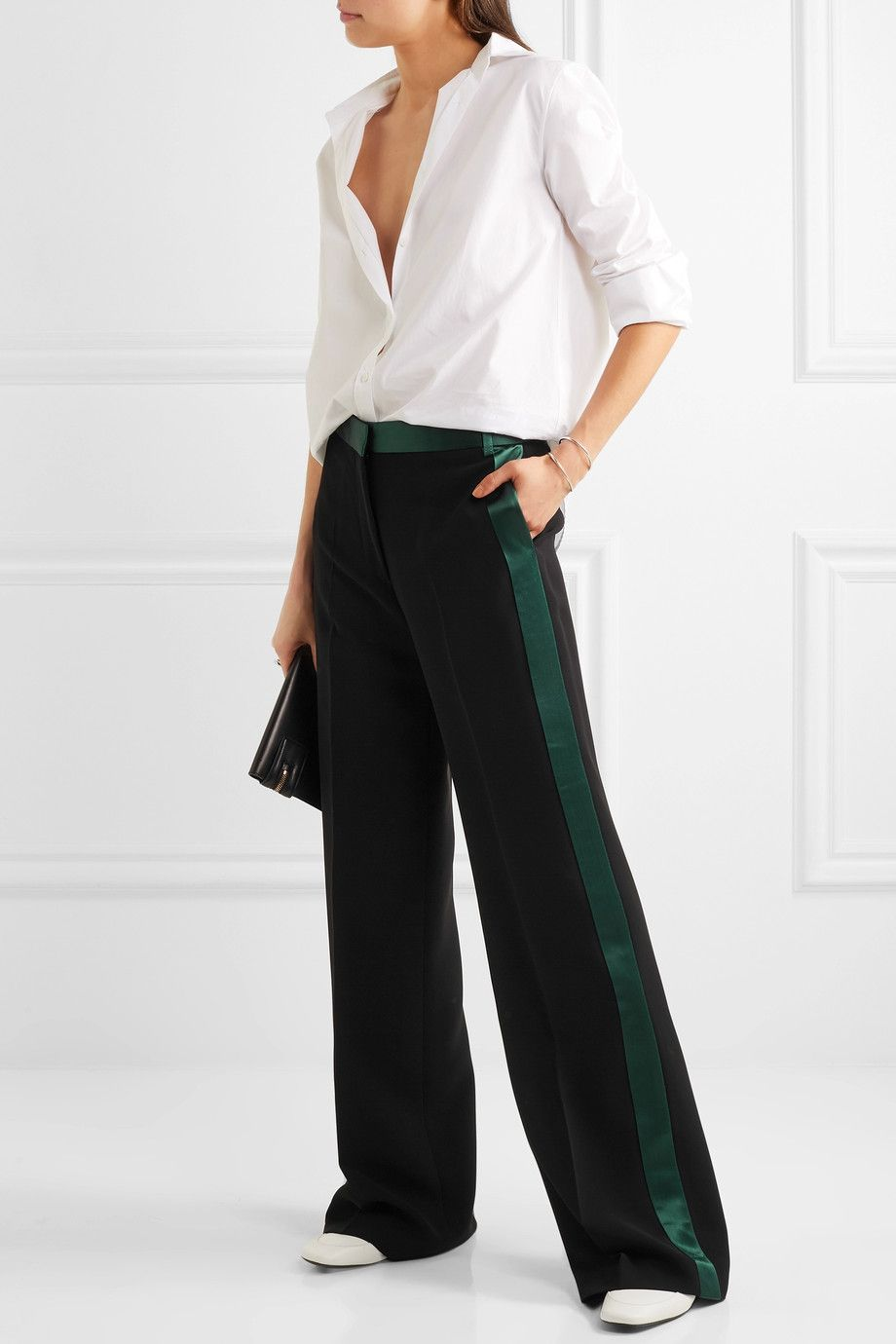 Victoria, Victoria Beckham Woman Crepe Tapered Pants Yellow Size 12 Victoria Beckham