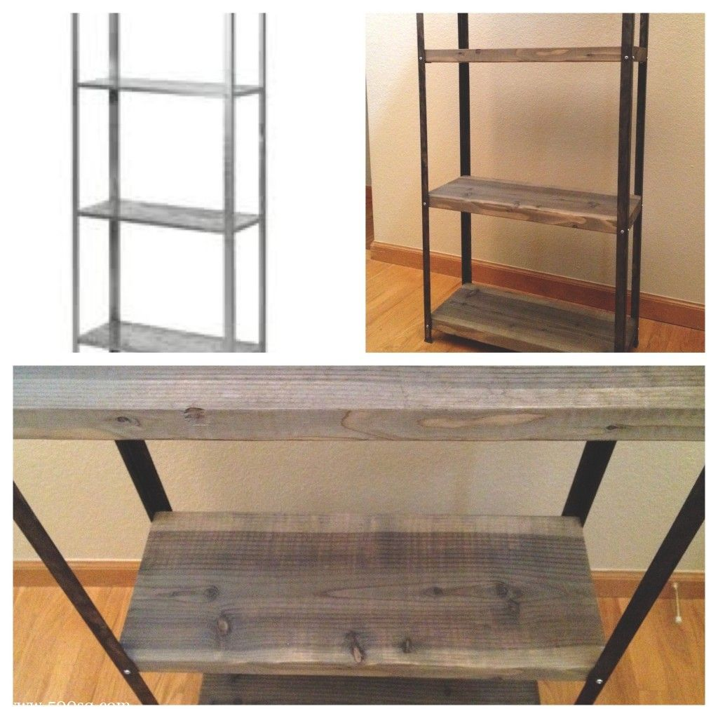 Industrial shelving ikea hyllis hack i want my metal to for Diy industrial bookshelf