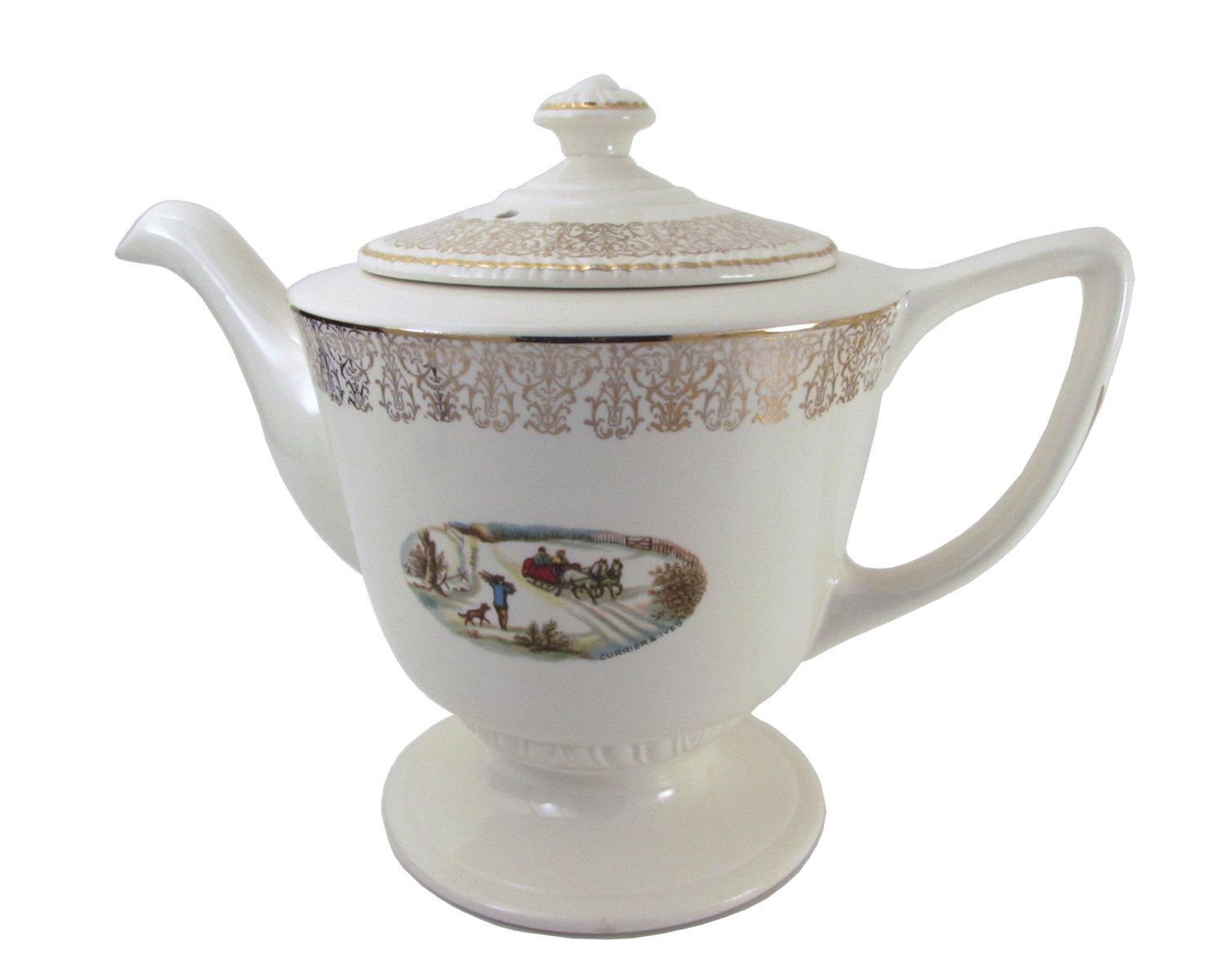Homer Laughlin Currier and Ives Winter American Homestead Winter Sleigh Scene Liberty Teapot 1953 Filigree Coffee Pot by WhatnotGems on Etsy
