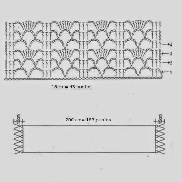 Bufanda tejida al crochet con patrones | Crochet y Dos agujas ...