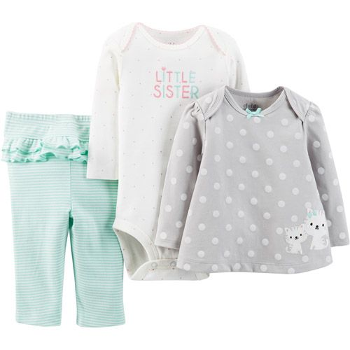 Walmart Baby Girl Clothes Child Of Minecarter's Newborn Girl Cotton Outfit 3Piece Set