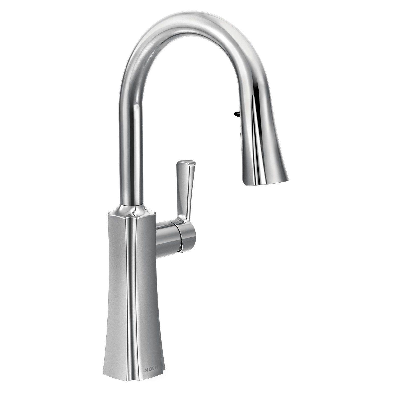 Moen Etch Chrome One Handle High Arc Pulldown Kitchen Faucet