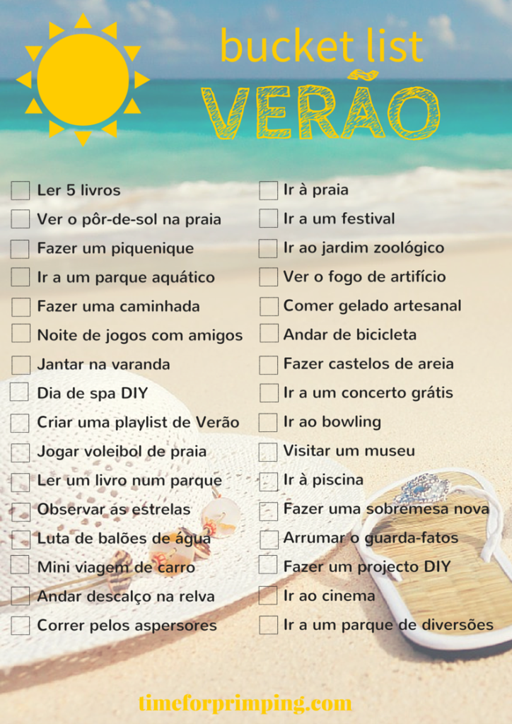 Bucket List de Verão   http://www.timeforprimping.com/bucket-list-de-verao/