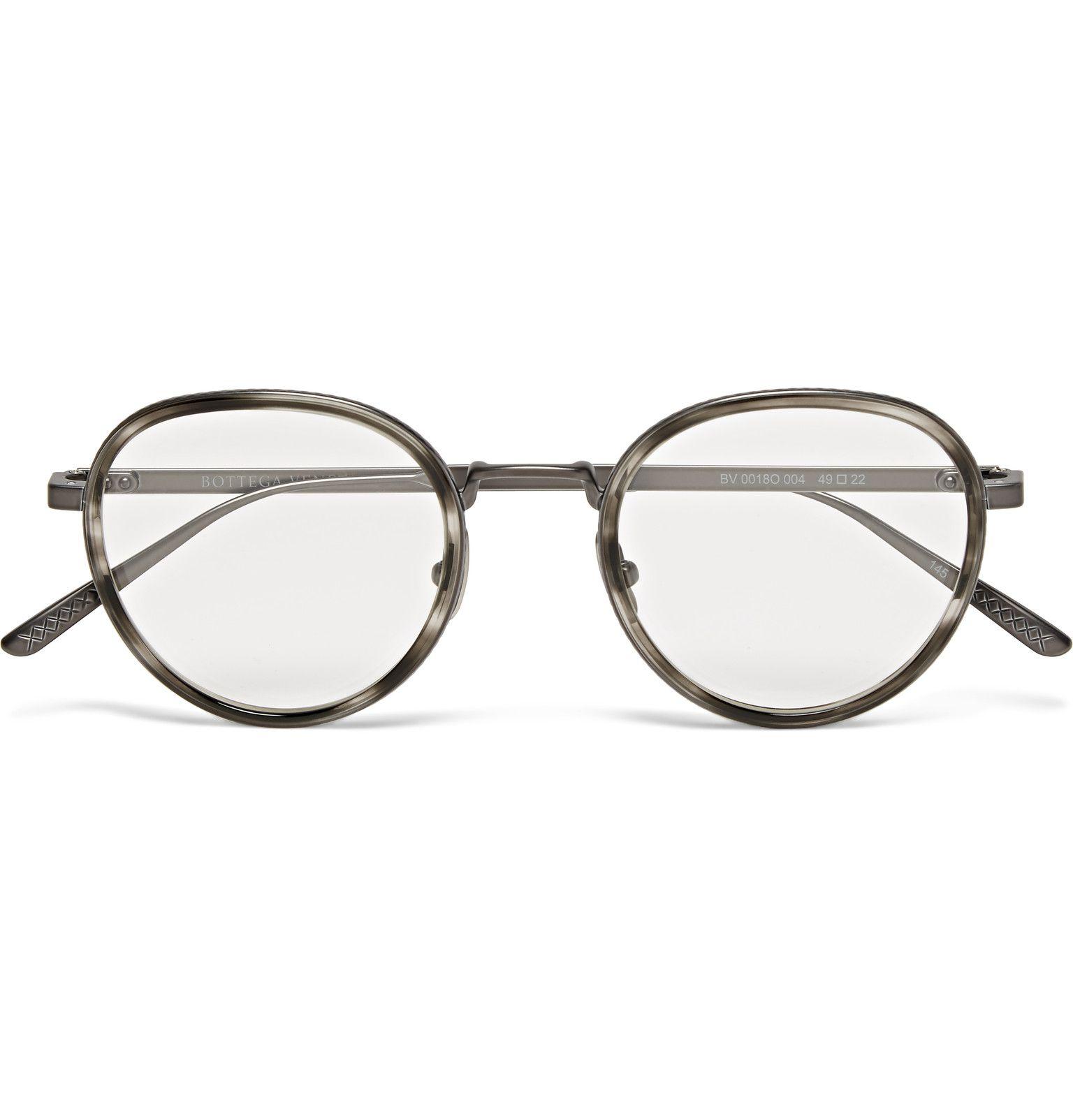 2996d5b46d Bottega Veneta - Round-Frame Acetate and Titanium Optical Glasses ...