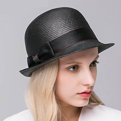 3668effee13 Elegant bow straw hat for women roll brim sun hats UV protection ...