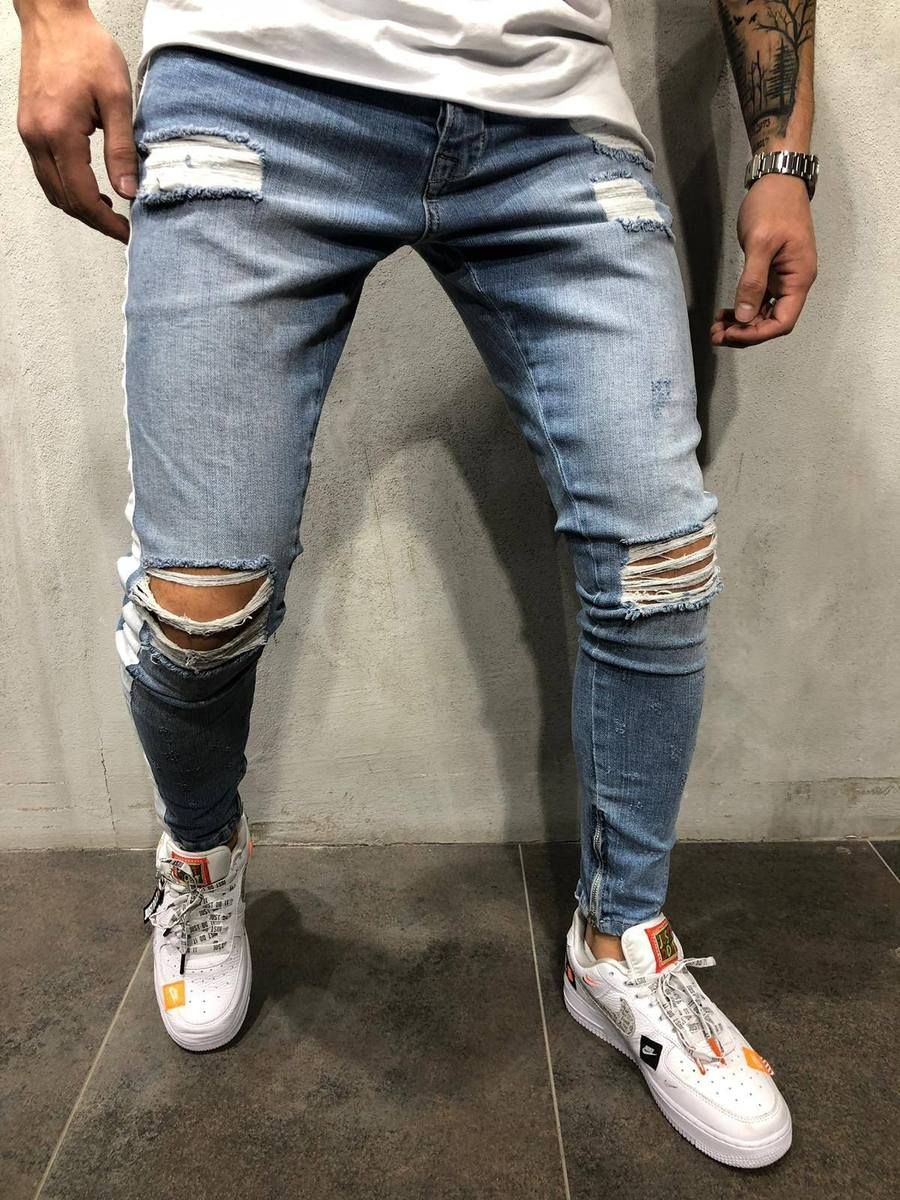 f3255df1f2a84a Repair Jeans, Black Ripped Jeans, Ripped Jeans Outfit, Blue Jeans, Men's  Jeans