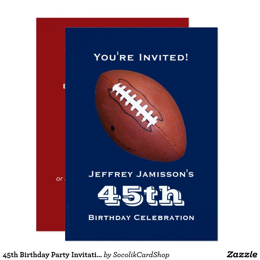 45th Birthday Party Invitation, Football Invitation ...
