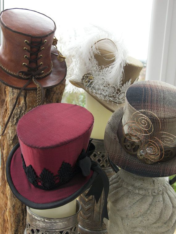 Steampunk Victorian Rockabilly Burlesque Mini top hat topper - made with your fabrics to match any outfit