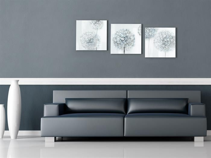 Gilde - SILVER FLOWER - 3er Set Gemälde Wandbilder Wanddeko - wohnzimmer dekorieren schwarz
