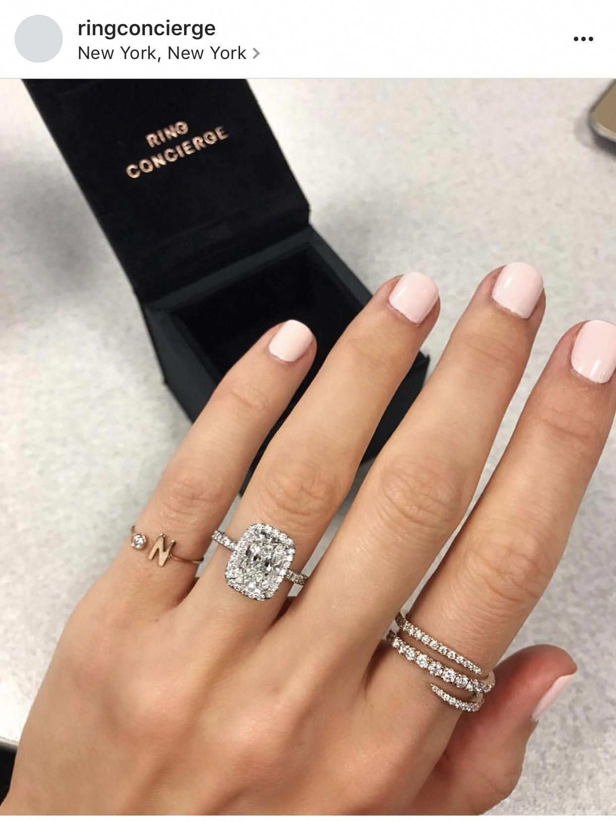 Elongated halo radiant cut engagement haloweddingrings stunning
