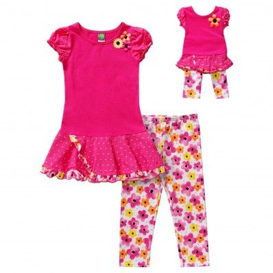 """Dollie Me Girl 14 and 18/"""" Doll Matching Coral Tunic Legging Outfit American Girl"""