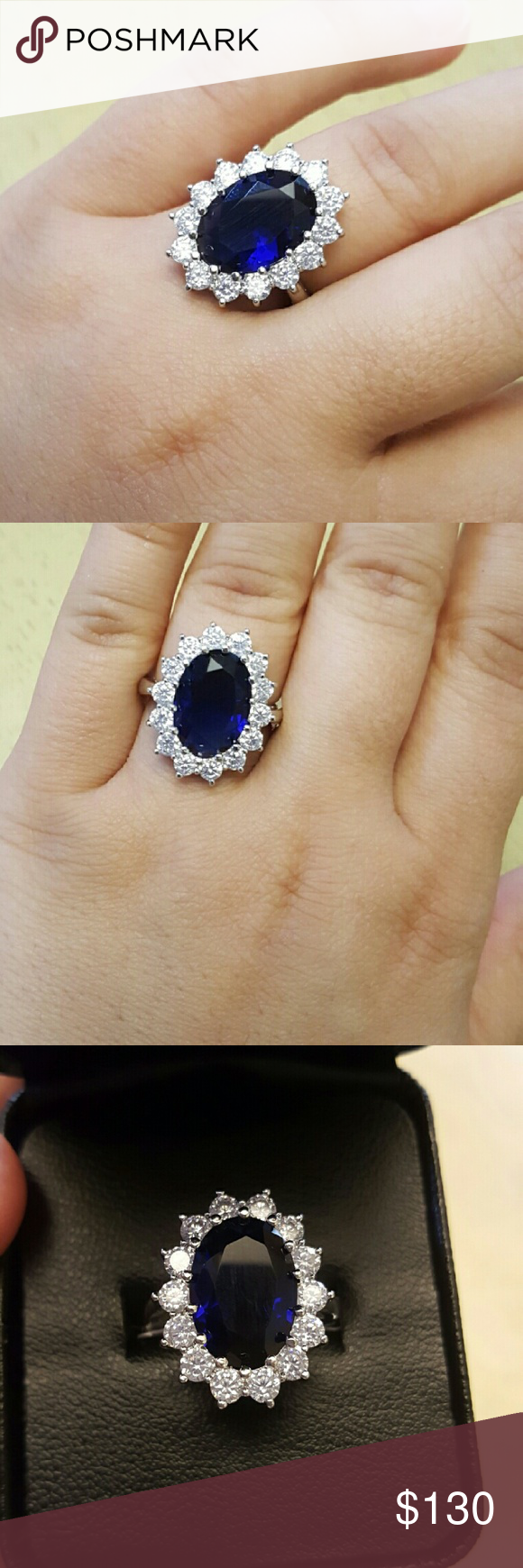 SALE! 18k Sapphire Swarovski Ring . Brand new never used comes with ... db5a79376