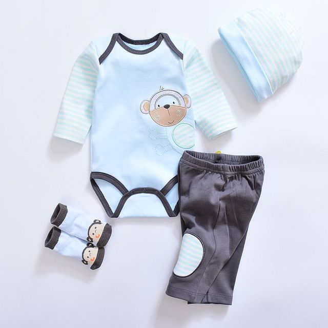 64a9b02421d0 Special offer 2017 Fashion Newborn Infants Baby Boys Girls Rompers +Long  Pants +Hats + Sock Baby pajamas Animal 100% Cotton Baby Clothes Sets just  only ...